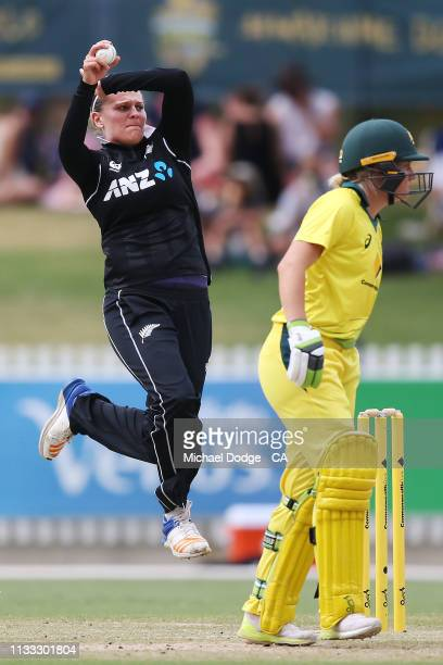 Lea Tahuhu of New Zealand bowls during game three of the One Day International Series between Australia and New Zealand at Junction Oval on March 03...