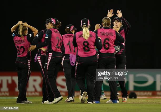 Lea Tahuhu of New Zealand celebrates a wicket with team mates during the ICC Women's World T20 2018 match between New Zealand and Pakistan at Guyana...