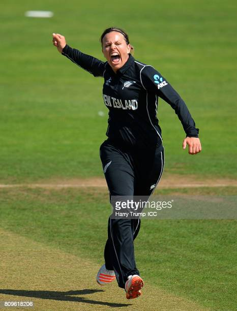 Lea Tahuhu of New Zealand celebrates the wicket of Kycia Knight of West Indies during the ICC Women's World Cup 2017 match between New Zealand and...