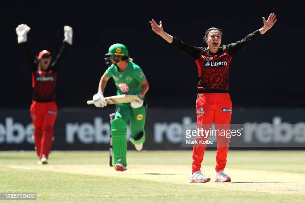 Lea Tahuhu of the Renegades appeals unsuccessfully for the wicket of Meg Lanning of the Stars during the Women's Big Bash League WBBL match between...