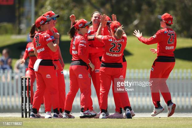 Lea Tahuhu of the Renegades celebrates after dismissing Meg Lanning of the Scorchers during the Women's Big Bash League match between the Melbourne...