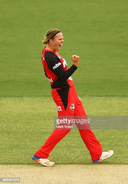 Lea Tahuhu of the Renegades celebrates getting a wicket during the Women's Big Bash League match between the Sydney Thunder and the Melbourne...
