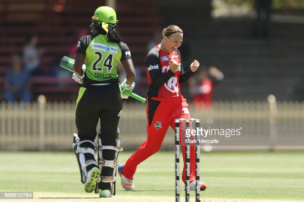 Lea Tahuhu of the Renegades celebrates taking the wicket of Stafanie Taylor of the Thunder during the Women's Big Bash League WBBL match between the...
