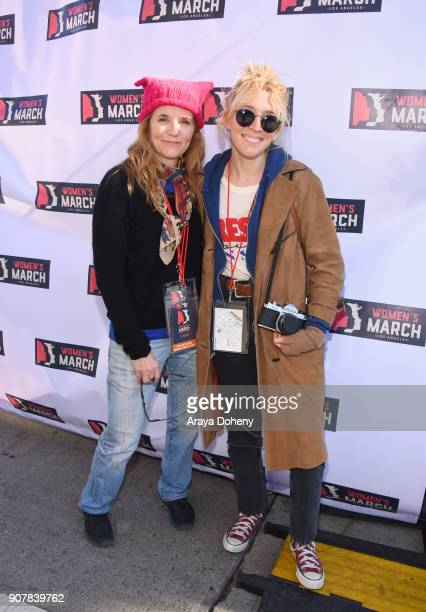 Lea Thompson and Madelyn Deutch at 2018 Women's March Los Angeles at Pershing Square on January 20 2018 in Los Angeles California