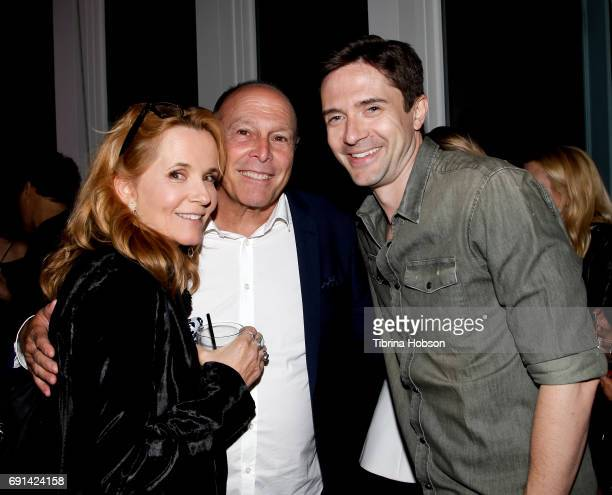 Lea Thompson Howard Deutch and Topher Grace attend the premiere of TNT's 'Claws' after party at Harmony Gold Theatre on June 1 2017 in Los Angeles...