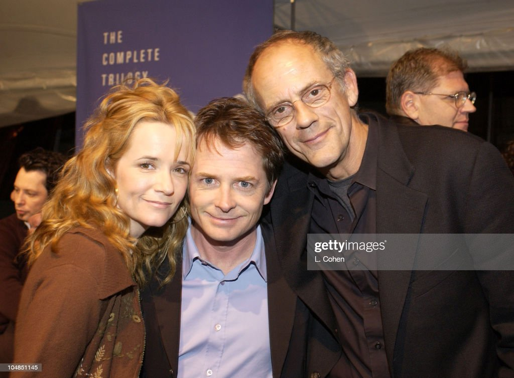 Lea Thompson, Michael J. Fox & Christopher Lloyd during 'Back To The Future' Reunion And DVD Launch Party at Universal backlot in Universal City, California, United States.