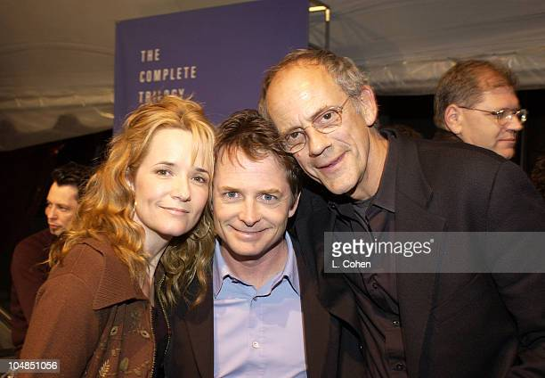 Lea Thompson Michael J Fox Christopher Lloyd Universal Studios Home Video hosted a Back To The Future reunion party to celebrate the launch of the...