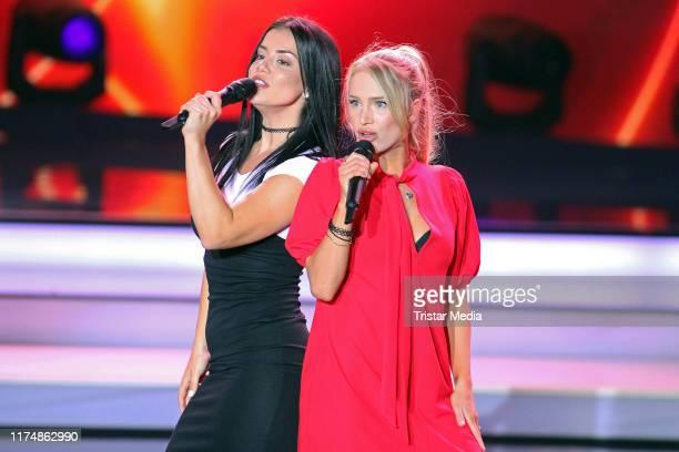 "Lea Tuvana Tutu and Felicitas Paula Kadelke of the duo Bonitaz at the charity gala ""Willkommen bei Carmen Nebel"" at TUI Arena on September 14, 2019..."