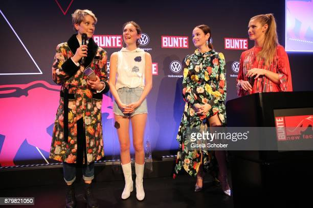 Leandra Bendorf and Lea van Acken Style Icon of the year with award Actress Emilia Schuele and Viviane Geppert during the New Faces Award Style 2017...