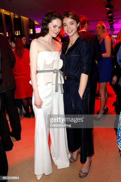 Lea van Acken and Lisa-Marie Koroll attend the Jupiter Award at Cafe Moskau on March 29, 2017 in Berlin, Germany.