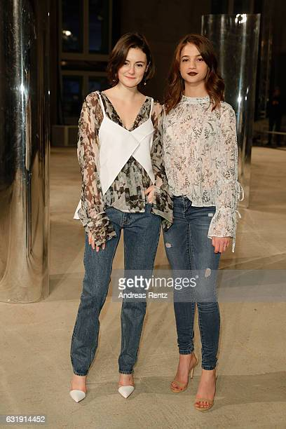 Lea van Acken and LisaMarie Koroll attend the Malaikaraiss defile during the Der Berliner Mode Salon A/W 2017 at Kronprinzenpalais on January 17 2017...