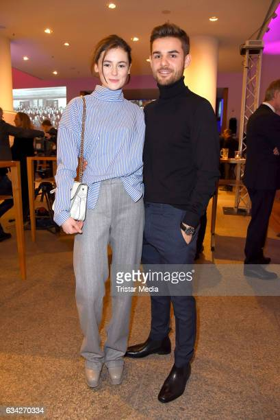 Lea van Acken and Lucas Reiber attend the opening recipience of the german film and TVproducer alliance to the 67 Berlinale International Film...