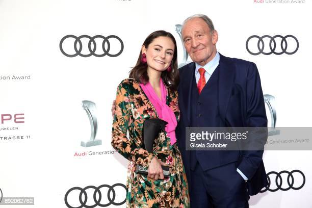 Lea van Acken with award and Michael Mendl during the Audi Generation Award 2017 at Hotel Bayerischer Hof on December 13 2017 in Munich Germany