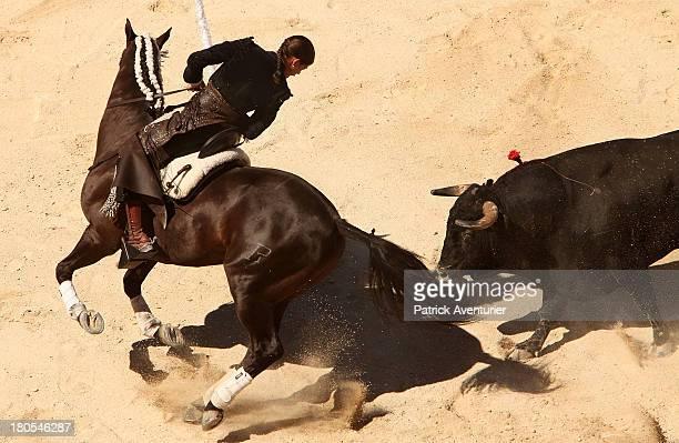 Lea Vicens the new French 'Rejoneadora' takes part in bullfighting on horsebackduring her 'Alternative' on September 14 2013 in Nimes FranceLea...