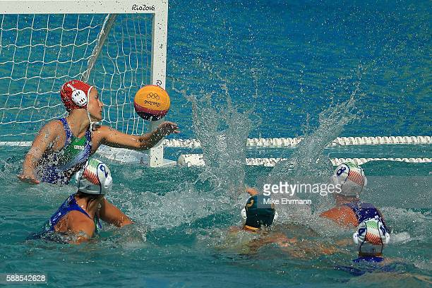 Lea Yanitsas of Australia makes a save during a Womens Preliminary match against Italy on Day 6 of the 2016 Rio Olympics at Maria Lenk Aquatics...
