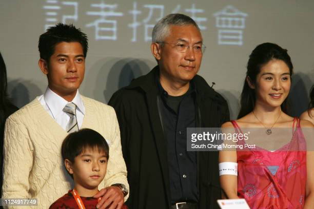 Lead actor Aaron Kwok Fushing Ian Geow film director Patrick Tam Kaming and actress Charlie Young Choinei pose for picture at the launching press...