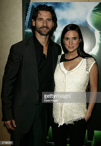 Lead Actor Eric Bana with Actress Jennifer Connelly attends the UK premiere of the film Hulk at the Empire Cinema Leicester Square on July 3 2003 in...
