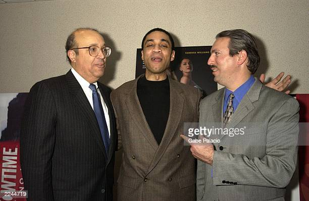 Lead actor Harry Lennix and CoProducers Adam Clayton Powell IV and Adam Clayton Powell III at the premiere of Showtime's Keep the Faith Baby film...