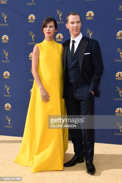 Lead actor in a limited series or movie nominee Benedict Cumberbatch and his wife Sophie Hunter arrive for the 70th Emmy Awards at the Microsoft...