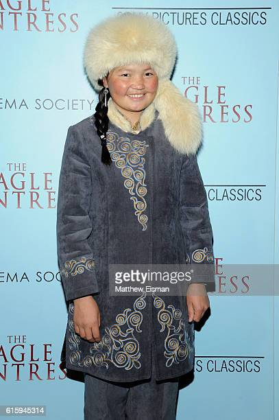 """Lead actress Aisholpan attends """"The Eagle Huntress"""" screening at Landmark Sunshine Cinema on October 20, 2016 in New York City."""