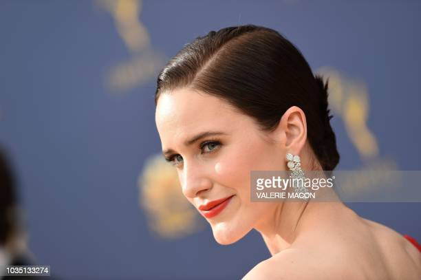 TOPSHOT Lead actress in a comedy series nominee Rachel Brosnahan arrives for the 70th Emmy Awards at the Microsoft Theatre in Los Angeles California...