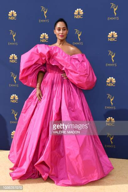 Lead actress in a comedy series nominee Tracee Ellis Ross arrives for the 70th Emmy Awards at the Microsoft Theatre in Los Angeles California on...