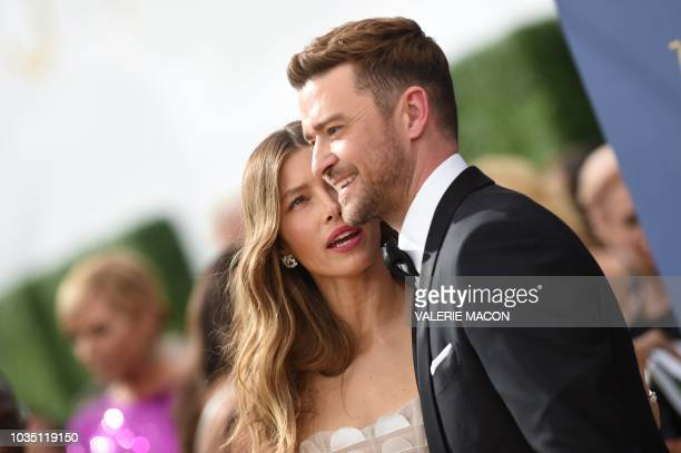 Lead actress in a limited series or movie nominee Jessica Biel and Justin Timberlake arrives for the 70th Emmy Awards at the Microsoft Theatre in Los...