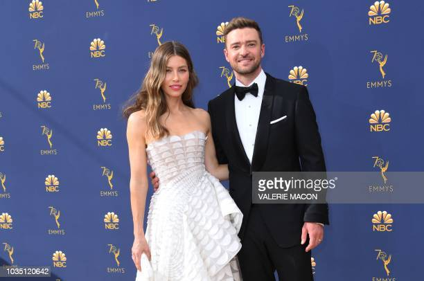 Lead actress in a limited series or movie nominee Jessica Biel and Justin Timberlake arrive for the 70th Emmy Awards at the Microsoft Theatre in Los...