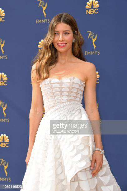 Lead actress in a limited series or movie nominee Jessica Biel arrives for the 70th Emmy Awards at the Microsoft Theatre in Los Angeles, California...