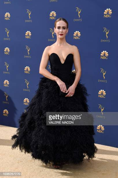 Lead actress in a limited series or movie nominee Sarah Paulson arrives for the 70th Emmy Awards at the Microsoft Theatre in Los Angeles California...