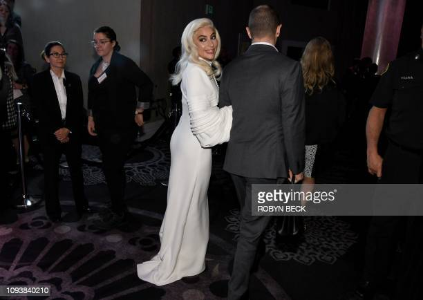 Lead Actress nominee for A Star is Born and Original Song nominee for Shallow from A Star is Born singer/songwriter Lady Gaga arrives inside the 91st...