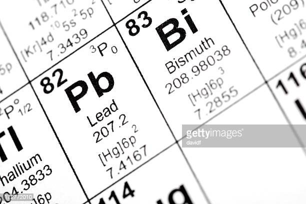 lead and bismuth elements - periodic table stock photos and pictures