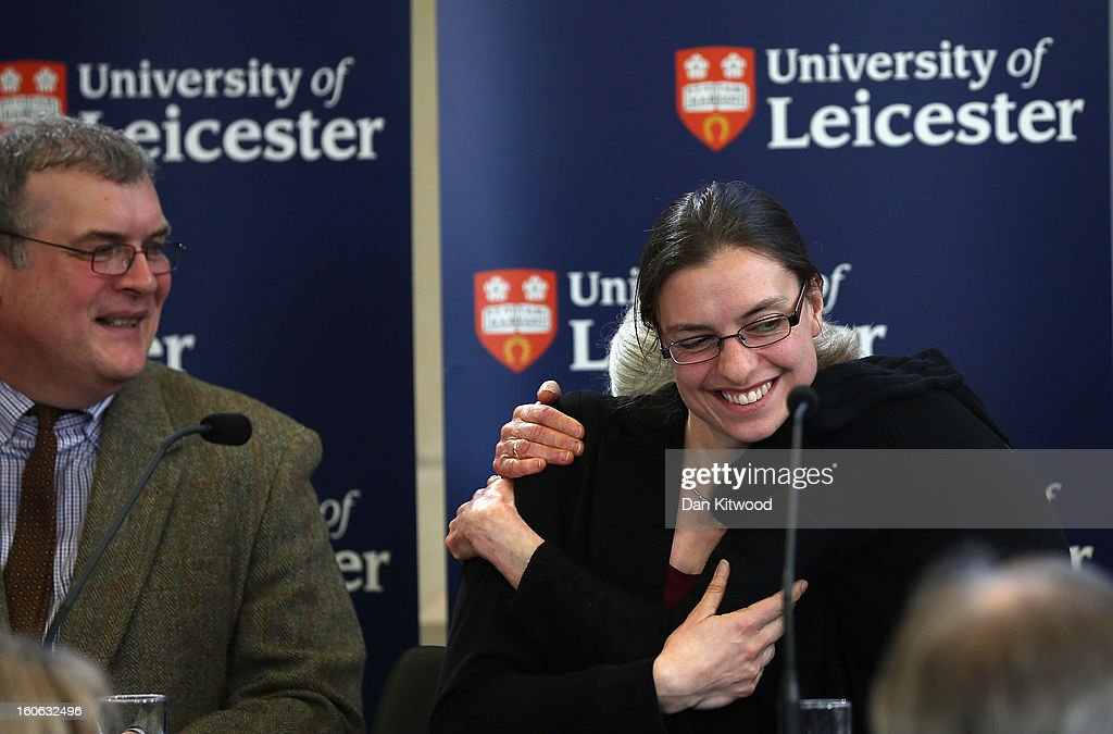 Lead archaeologist Richard Buckley, Dr Jo Appleby and Professor Lin Foxhall react during a press conference at University Of Leicester as archaeologists announce whether the human remains found in Leicester are those of King Richard III on February 4, 2013 in Leicester, England. The University of Leicester has been carrying out scientific investigations on remains found in a car park to find out whether they are those of King Richard III since last September, when the skeleton was discovered in the foundations of Greyfriars Church, Leicester.
