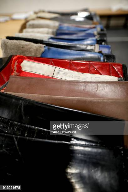 Lead bags are lined up in the changing room at Ascot Racecourse on February 17 2018 in Ascot England