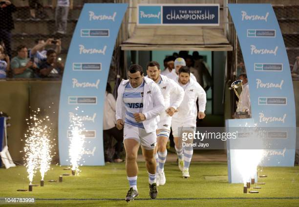 Lead by captain Agustin Creevy players of Argentina get into the field before a match between Argentina and Australia as part of The Rugby...