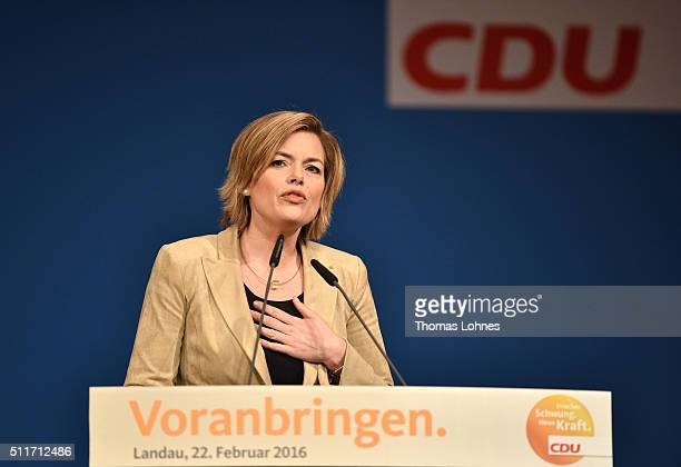 CDU lead candidate for RhinelandPalatinate Julia Kloeckner speaks at an election campaign rally on February 22 2016 in Landau in der Pfalz Germany...
