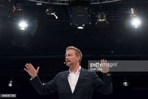 Lead candidate of Free Democratic Party Christian Lindner speaks during a federal congress one week before elections on September 17 2017 in Berlin...