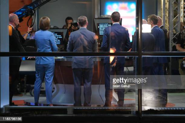 Lead candidates give a television interview following state elections in Thuringia on October 27, 2019 in Erfurt, Germany. Die Linke, led by Bodo...