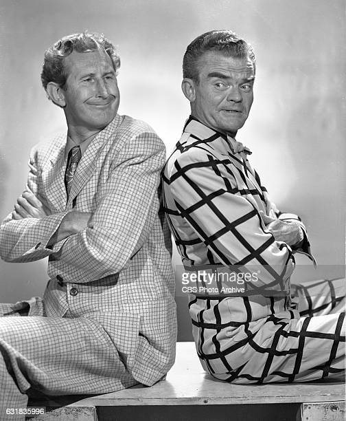 Lead cast members of the CBS Radio program, The Spike Jones Show, , featuring from left, Doodles Weaver and musician Spike Jones. Hollywood, CA....