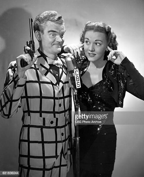 Lead cast members of the CBS Radio program, The Spike Jones Show, , featuring from left, musician Spike Jones and Dorothy Shay . Hollywood, CA. Image...