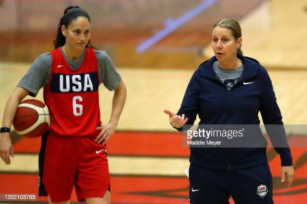 Lead coach Cheryl Reeve talks with the team as Sue Bird looks on during a United States practice session at Chase Arena on January 26 2020 in West...