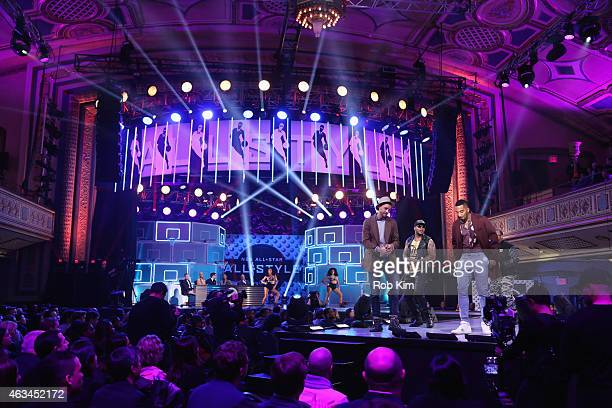Lead competitors Chandler Parsons and J R Smith model on stage with Flo Rida during The NBA AllStar AllStyle presented by Samsung Galaxy the...