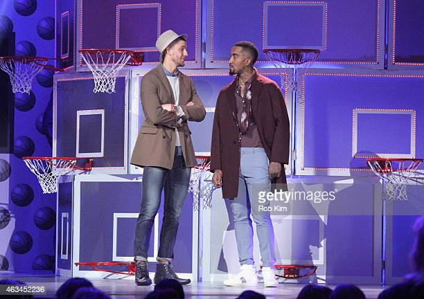 Lead competitors Chandler Parsons and J R Smith speak on stage during the NBA AllStar AllStyle presented by Samsung Galaxy the firstever NBA fashion...