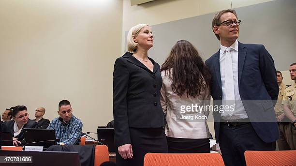 Lead defendant Beate Zschaepe and codefendant Ralf Wohlleben wait for the start of the 200th day of the NSU neoNazi murder trial on April 23 2015 in...