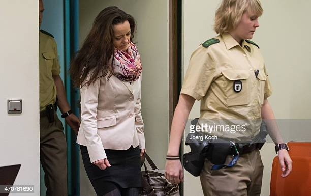 Lead defendant Beate Zschaepe arrives for the 200th day of the NSU neoNazi murder trial on April 23 2015 in Munich Germany Zschaepe is the chief...