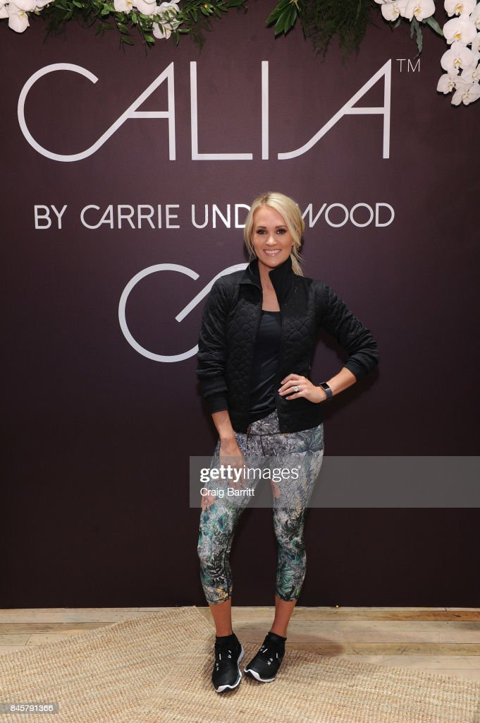 CALIA lead designer, Carrie Underwood and her road trainer, Eve Overland lead a group workout to celebrate the line's Fall/Winter 17 collection at West Edge on September 11, 2017 in New York City.