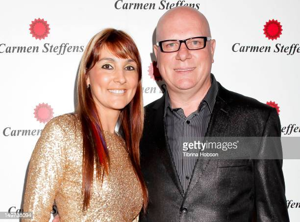 Lead Designer of Carmen Steffens Monalisa Spaniol and Founder Mario Spaniol attend the Carmen Steffens U.S. West coast flagship store opening at...