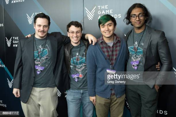 Lead designer Thomas Watson Alejandro Grossman Guest and Sherveen Uduwana representing the team for Best Student Game Nominees 'From Light' attend...