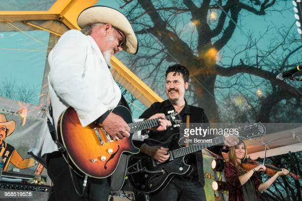 Lead guitarist and vocalist Ray Benson of Asleep At The Wheel and guitarist and vocalist Jessie Dayton perform live on stage at Ray's 67th birthday...
