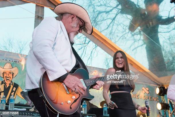 Lead guitarist and vocalist Ray Benson of Asleep At The Wheel and singer Bonnie Bishop perform live on stage at Ray's 67th birthday party concert...